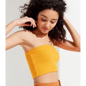 URBAN OUTFITTERS RIBBED YELLOW CROPPED TUBE TOP XS